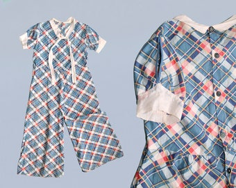 RESERVED--RARE!! 1930s Beach Pajamas / 30s Cotton Jumpsuit / Blue Plaid Print / Wide Leg / Tie Neck / Nautical / Open Sleeves