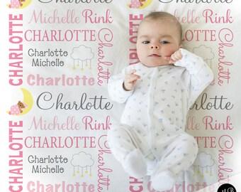 Teddy Bear Moon Baby Blanket in pink and gray, personalized baby gift, Sleepy Moon blanket, name blanket, personalized blanket,choose colors