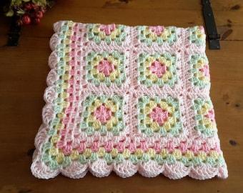 Crochet baby blanket crochet baby afghan granny square handmade baby blanket new baby nursey decor pretty pastel colors FAST SHIPPING