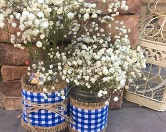 Mason Jar Wrap, Check Blue & White, Wedding, Shower, Party, Centerpiece, Decoration