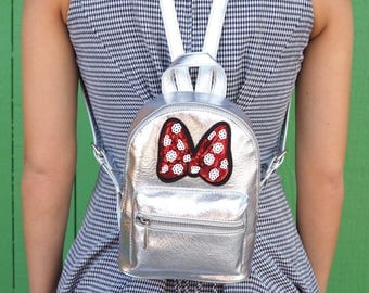 Metallic Mini Minnie Sequined Bow Inspired Backpack