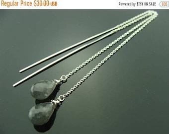 Flash Labradorite Drop 925 Sterling Silver Ear Threads Earrings