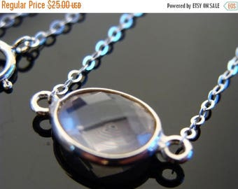 Bezel Set Rose Quartz Sterling Silver Link Necklace