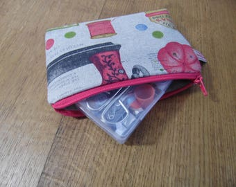Travel Sewing Kit in Small Zipped Pouch in Vintage Sewing Print
