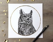 Hibou lune froide décembre - reproduction d'un dessin Original de Graphite avec feuille d'or - Portrait de l'Animal chouette impression grand-duc