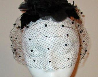 Vintage Ladies Hat Black Flowers with Polka Dot Netting