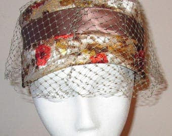 Vintage Ladies Brocade Hat Floral Orange Brown Gold Yellow with Netting