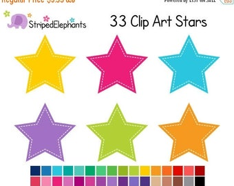 40% OFF SALE Stitched Star Clip Art - Digital Clipart - Instant Download - Commercial Use
