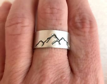 Silver Mountain Ring, hand stamped ring, aluminum or sterling silver, adjustable ring, unisex ring, hiking jewelry, climbing gift