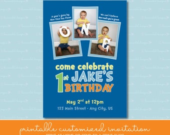 """First Birthday Invitation with """"One"""" Photos"""