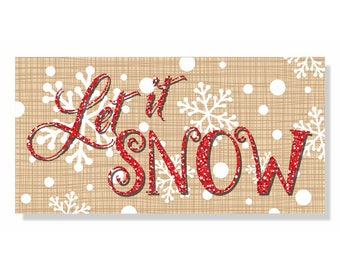 Let It Snow  Winter Wreath Sign, Wreath Attachment, Aluminum wreath sign, metal wreath sign, Christmas Snowflake Wreath Sign