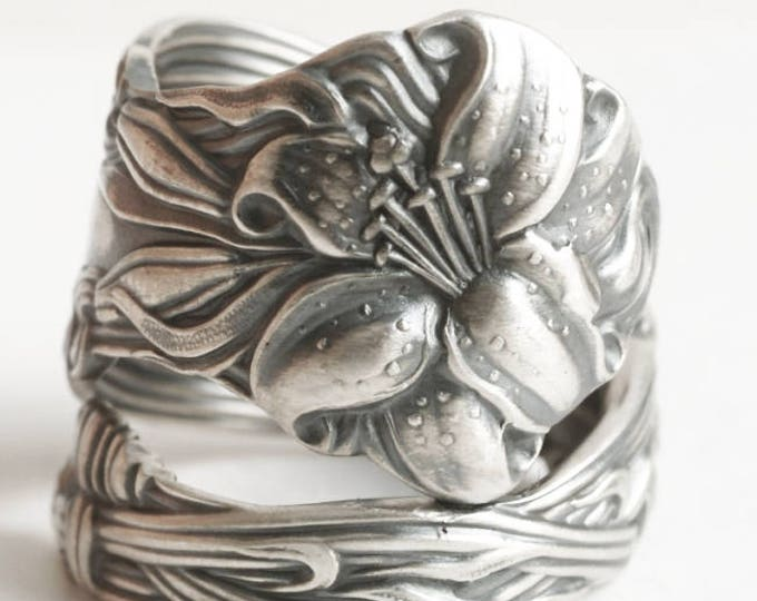 Lovely Tiger Lily Ring, Sterling Silver Spoon Ring, Stargazer Lily, Frontenac Victorian Era Floral Ring, Gift For Her, Custom Ring Size 6713