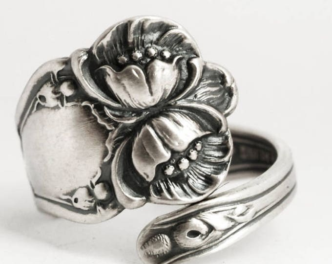 Wild Rose Ring, Sterling Silver Spoon Ring, Antique Baker Manchester, Floral Wild Rose, Handmade Gift Her, Adjustable Ring Size 6 7 8 (6892)