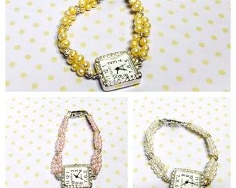 Faux pearls watch/Bracelet, silver tone square face, choose a color, item no. L117