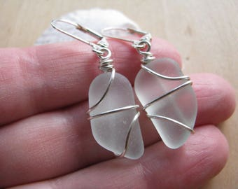 Natural Sea Glass Earrings Light Aqua Real Sea Glass Jewelry Blue Beach Glass Earrings Seafoam Seaglass Jewelry OOAK Minimalist Earrings