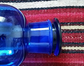 Large Vintage Cobalt Blue Glass Apothecary Bottle with Ground Glass Stopper Jar