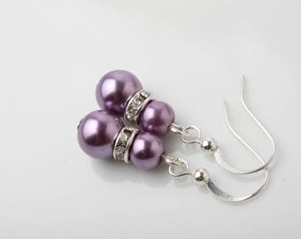 Purple pearl earrings, Purple Bridesmaid earrings, Purple wedding earrings, Purple wedding jewelry, bridemaid gift, purple orchid color