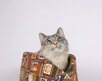 Summer Sale Modern Cat Bed and cat furniture - the Cat Canoe in Wildcats Fabric with Avocado Green Lining - made in USA