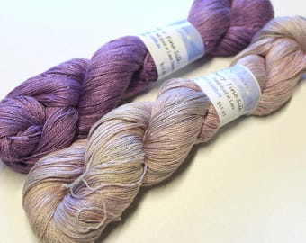 "Pure silk ""Gloss""  hand dyed laceweight yarn"