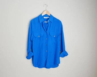 Summer SALE - 20% off - vintage royal blue silk oversized blouse shirt -- womens medium