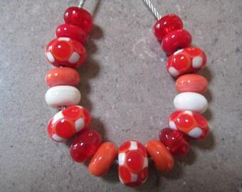 Lampwork Glass Beads. Orange, Red and Ivory Mosaic Dots Bead Set. Handmade Glass Beads. Australian Artisan Beads. Kiln Fired Glass Beads.