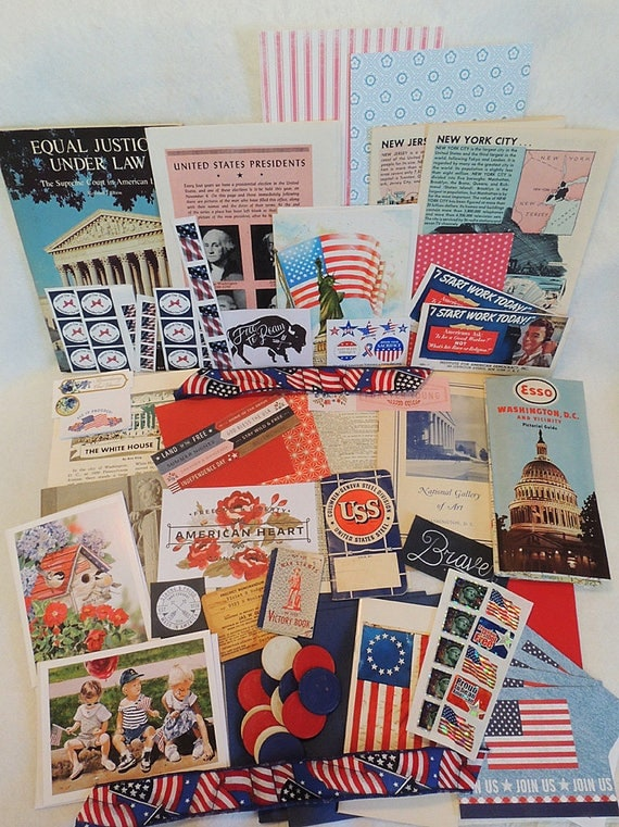 Large Vintage Ephemera Paper Lot Patriotic America Scrap Book Art Journal.. Red, White & Blue July 4  (#2)
