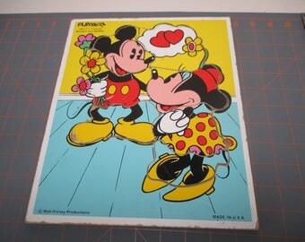 "Vintage ""MICKEY and MINNIE""  Playskool Frame Tray Puzzle"