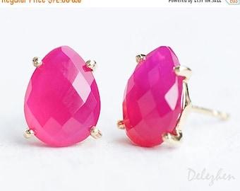 40 OFF - Fuchsia Pink Stud Earrings - Hot Pink Post Earrings - Gold Stud Gemstone Earrings - Tear drop Stud - Prong Set studs