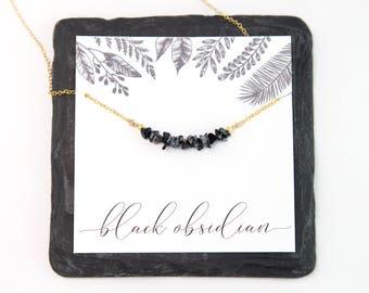 Black Obsidian Raw Crystal Bar Necklace, Minimalist Choker, 14k Gold Fill, Rough Stone Necklace, Semi-Precious Black Stone, Healing Gift