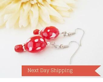 Red White Earrings, Beaded Dangle Earrings Sterling Silver Jewelry, Gift for Women, Lampwork Earrings Artisan Jewelry Handmade Gift for Her
