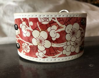 Recycled Leather Cuff with Reclaimed Cherry Blossom Vintage Tin