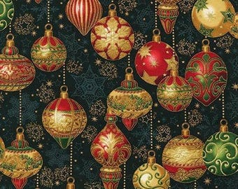 Holiday Flourish 8 Holiday Ornaments w/Metallic Gold on black cotton quilting fabric from Robert Kaufman - Christmas