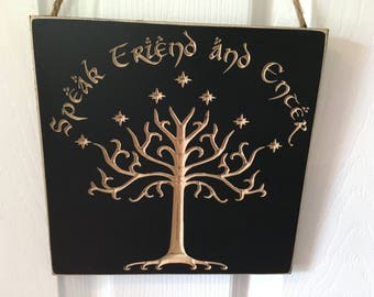Engraved Door Hanger CNC Carved Sign - White Tree of Gondor - The Hobbit & Lord of the Rings - J.R.R. Tolkien - Speak Friend and Enter LOTR
