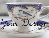 Cobalt Blue Bird Custom Tea Cup and Saucer or Trio Set, Personalized Teacup, Upcycled Teacup, Trio Available, Custom Text Cup, Bespoke Mug