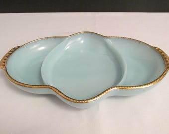 Anchor Hocking Turquoise Blue / Azurite 3 Part Relish Tray with 22K Gold Trim