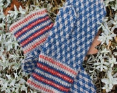 Finely Knitted Estonian Mittens in Natural Grey and Blue - warm and windproof