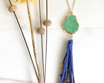 Boho Tassel Necklace. Green and Royal Blue Tassel Necklace. Long Stone Slice Tassel Necklace. Boho Jewelry. Unique Gift Idea.
