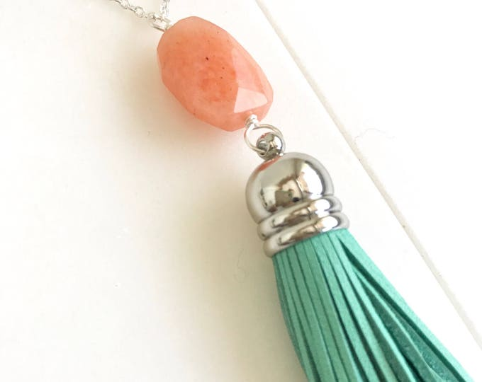 Tassel Necklace Peach and Turquoise. Leather Tassel.  Long Gold Tassel Necklace. Aqua Silver Tassel Necklace.  Boho Style. Strand Necklace.