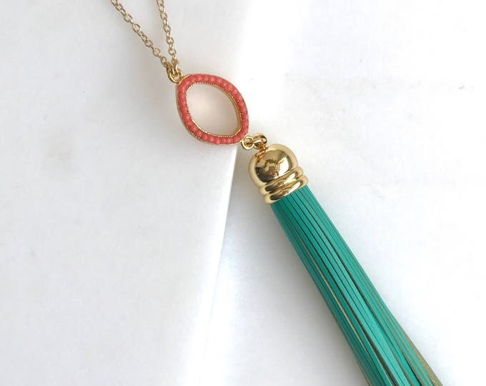 Tassel Necklace. Leather Tassel Necklace. Coral Open Pendant Turquoise Tassel Necklace. Long Tassel Necklace. Boho Tassel Jewelry.