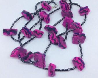 Long felt beaded necklace, purple, pink, navy blue, felt necklace, felt jewellery