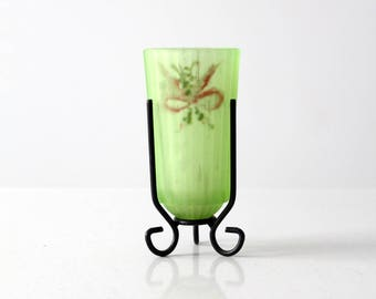 vintage Depression glass candle holder, hand painted candle cup