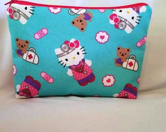FAST SHIPPING//Kitty nurse cosmetic bag//Large zipper Cosmetic/accessory Pouch