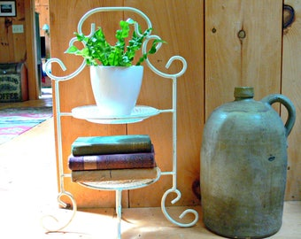 Metal Plant Stand with Saucer Holders - Vintage Cake or Dessert Server - Two Tier Display Shelves - Wedding Decor