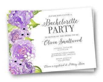 Bachelorette Party Invitation, Purple Bachelorette Party Invitations, Bachelorette Party Invites, Bridal Shower Invitations