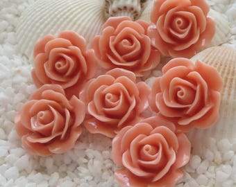 Resin Flower Cabochons - 18mm - Light Coral - CHOICE of 12, 24 or 36 pcs