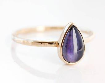 Blue iolite gold ring, teardrop, indigo, blue gemstone, sapphire alternative, solitaire ring, 14k gold, alternative engagement, pear cut