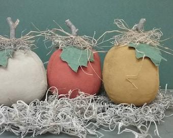 Primitive Fabric Pumpkin Bowl Fillers - Set of 3 - Grungy Fabric Pumpkins - Country Primitive Home Decor - Cupboard Tucks-  Fall Centerpiece
