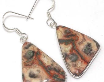 Special Sale, Beautiful Abstract Jasper Earrings, One of a Kind, 925 Silver
