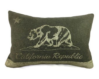 California Flag Pillow Cover from Military Blanket - Olive Green & Champagne Metallic (add'l colors avail)