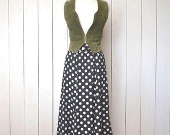 34% Off Sale - Polka Dot Skirt - Early 90s High Waist Midi - Vintage Black White Flutter Hem Skirt - Extra Small XS / Small S